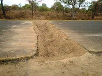 Renamo trench in road set up for ambushes
